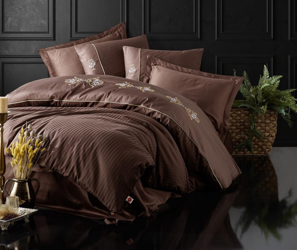 Lenjerie de pat King Satin Supreme Premium Embroided Brown