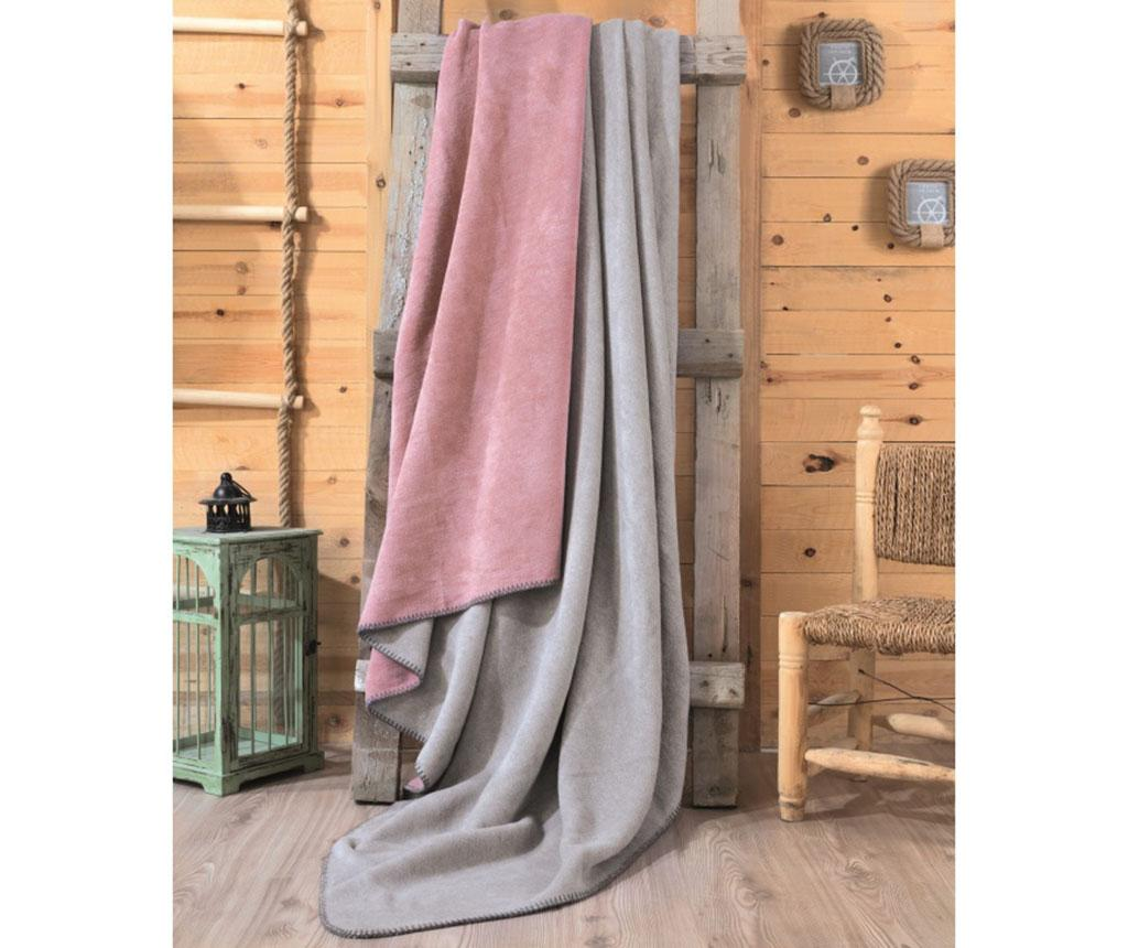 Patura Abbi Dusty Rose and Grey 200x220 cm vivre.ro