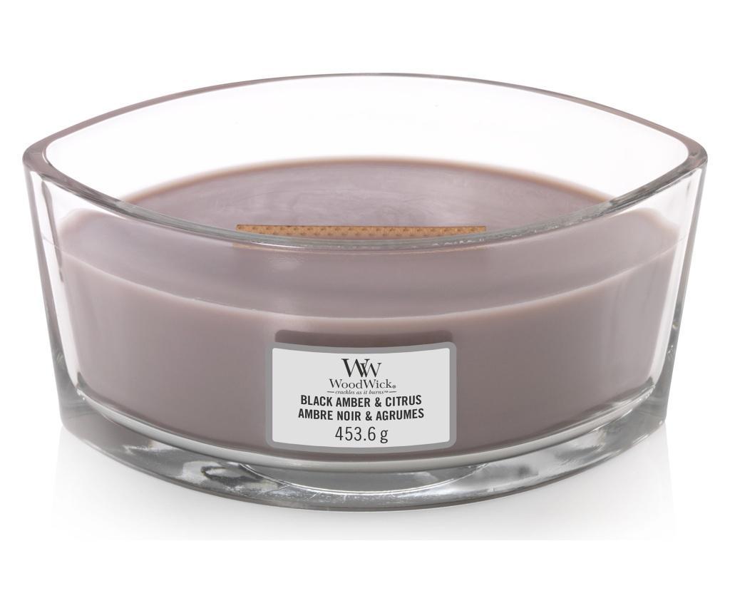 Lumanare parfumata Ellipse Amber and Citrus Crackling Sound - WoodWick, Multicolor poza