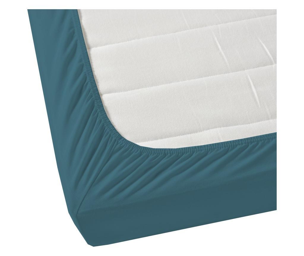 Cearsaf de pat cu elastic Satin Elastic Storm Blue 200x200 cm