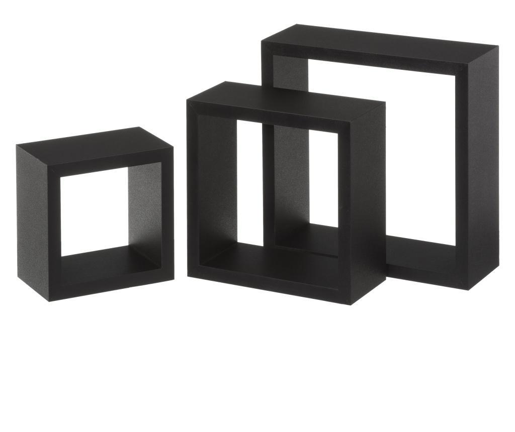 Set 3 rafturi de perete Sebasti Black S