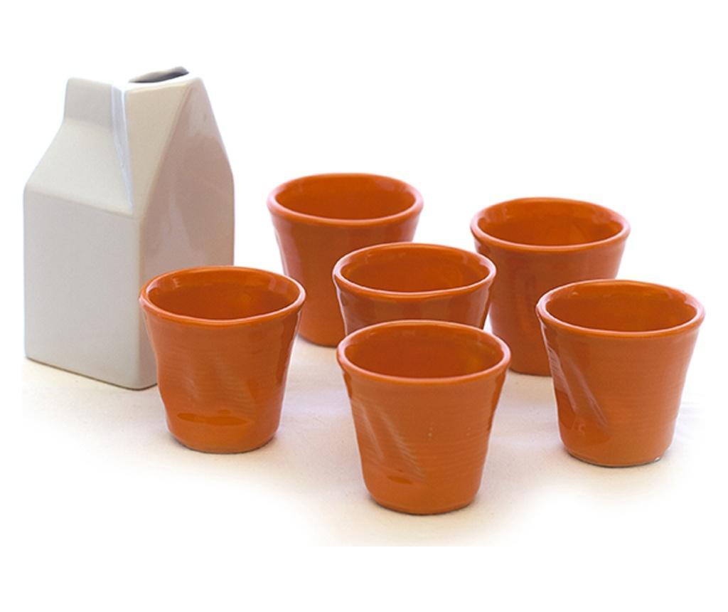 Set 6 cesti de cafea si latiera - Kaleidos, Portocaliu de la Kaleidos