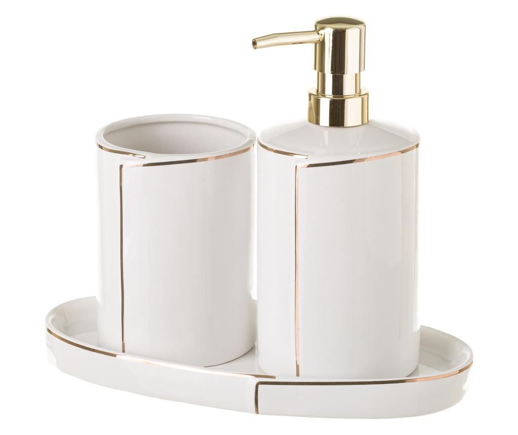 Set dispenser pentru sapun lichid si suport pentru periute de dinti Elegance Gold