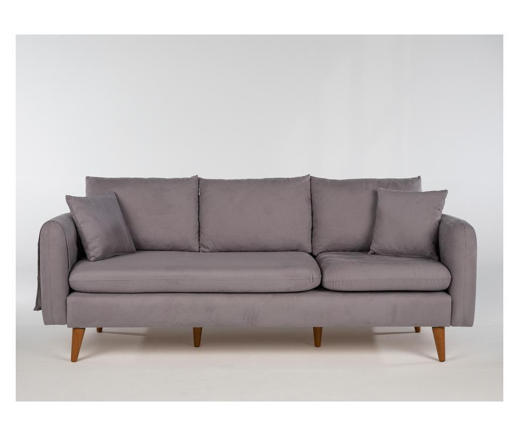 Canapea 3 locuri Grey - Unique Design, Gri & Argintiu imagine