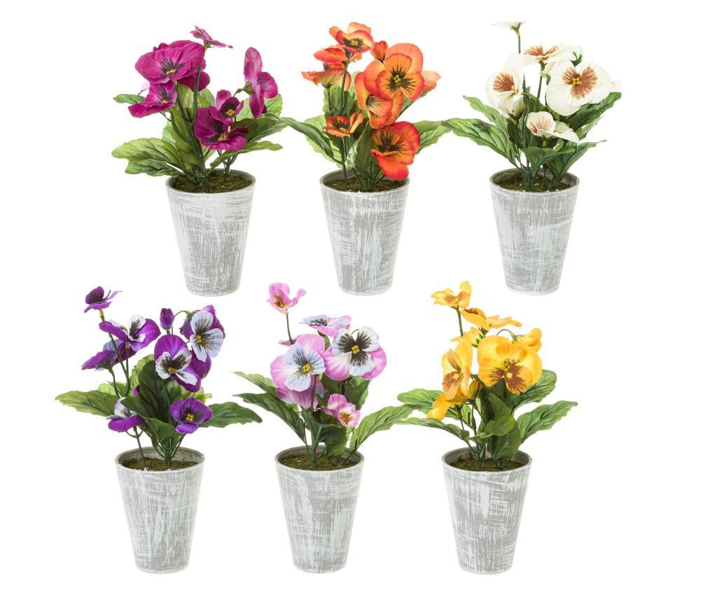 Set 6 flori artificiale cu ghiveci imagine