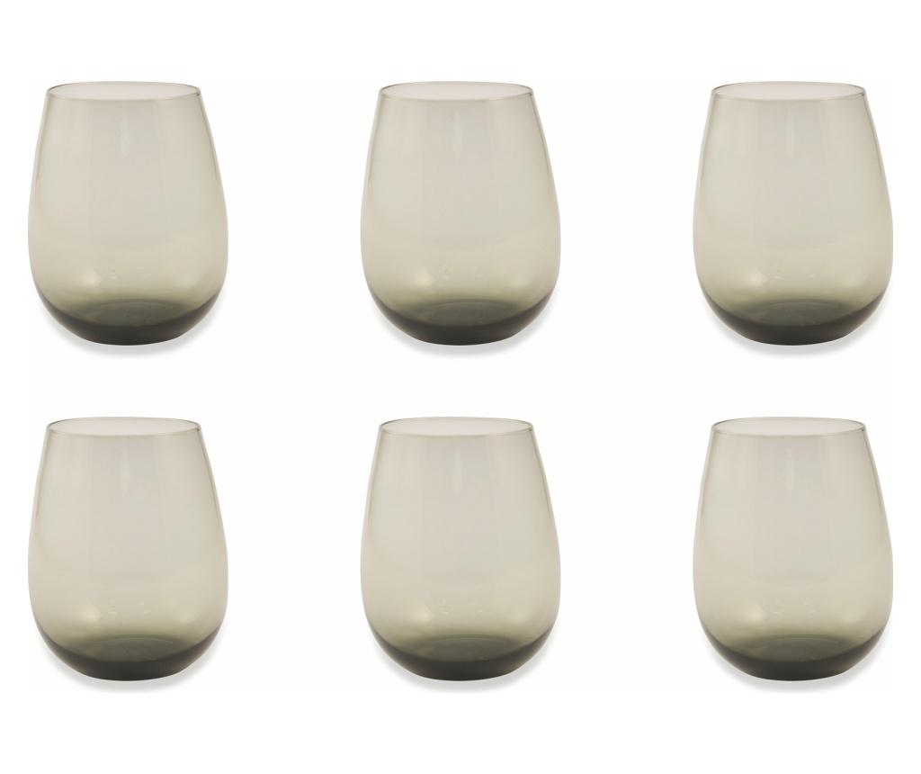 Set 6 pahare Happyhour Grey 428 ml - Villa D'Este Home Tivoli, Gri & Argintiu imagine