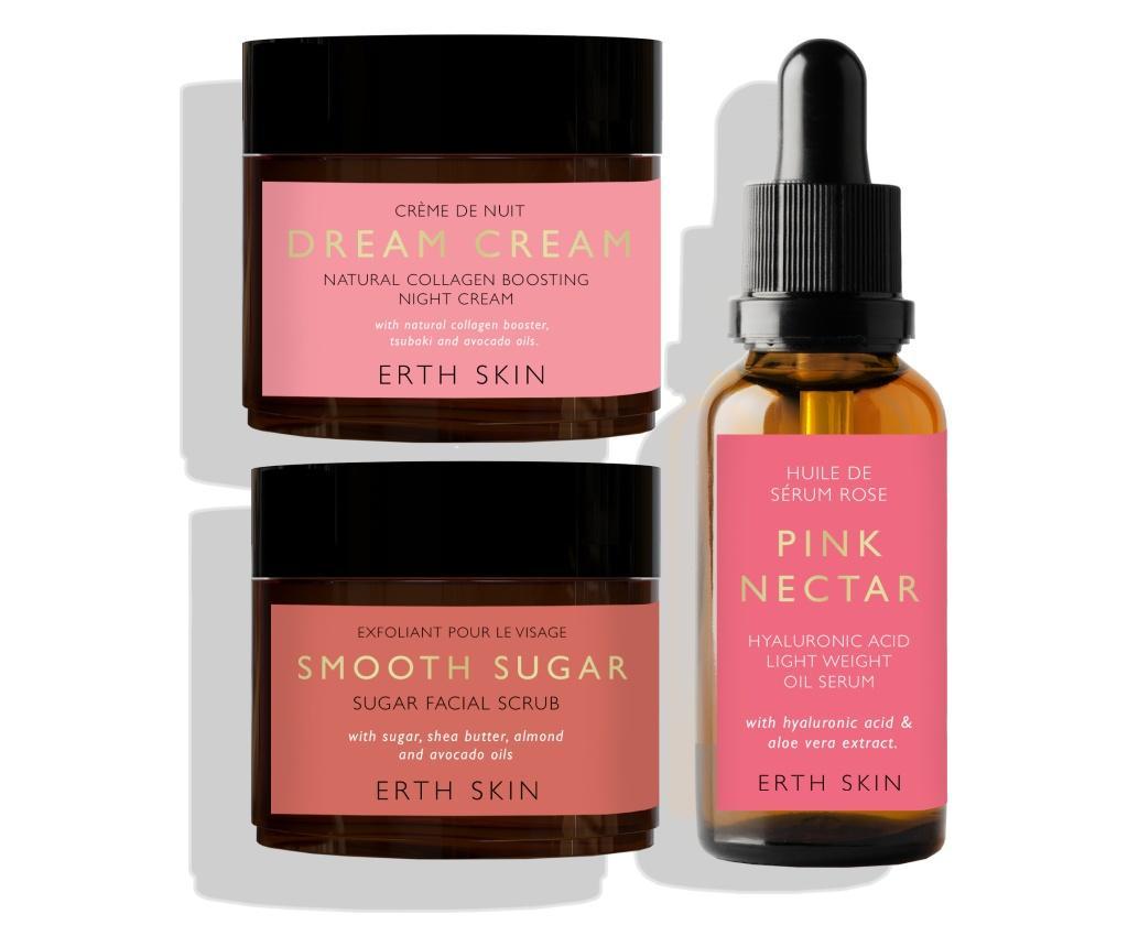 Set ser, crema de noapte si exfoliant pentru fata Pink Nectar - ERTH SKIN
