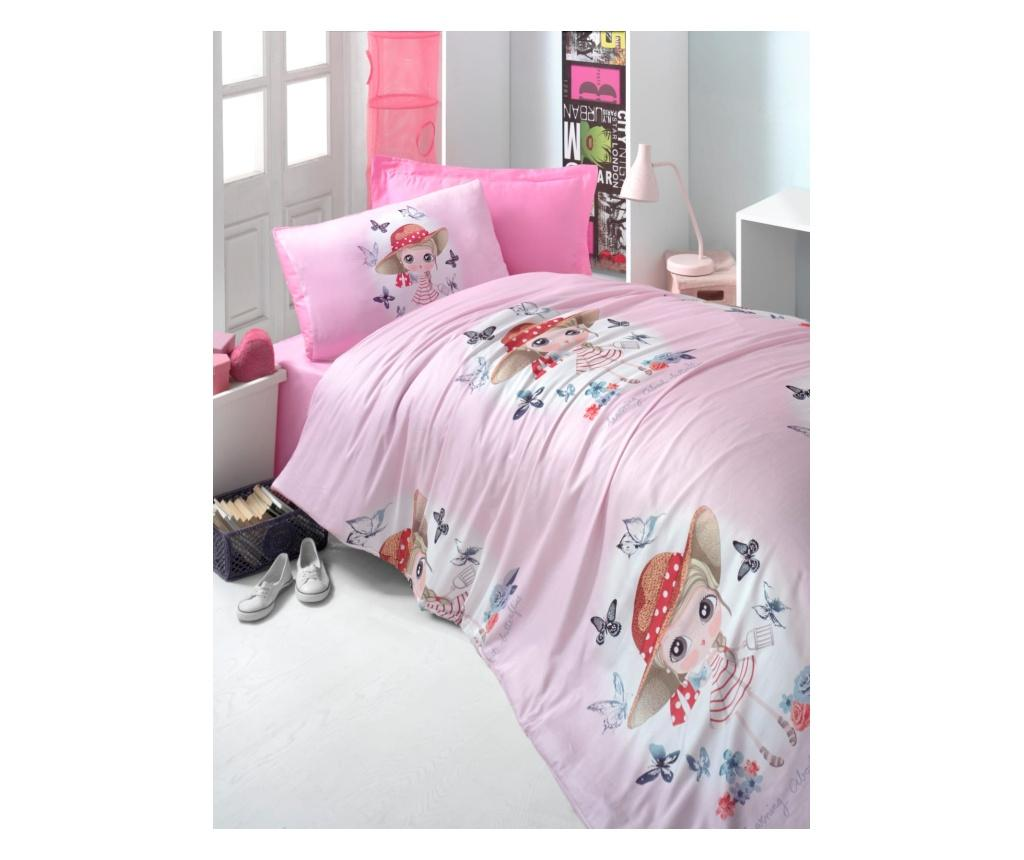 Set de pat Single Ranforce Pink Girl imagine