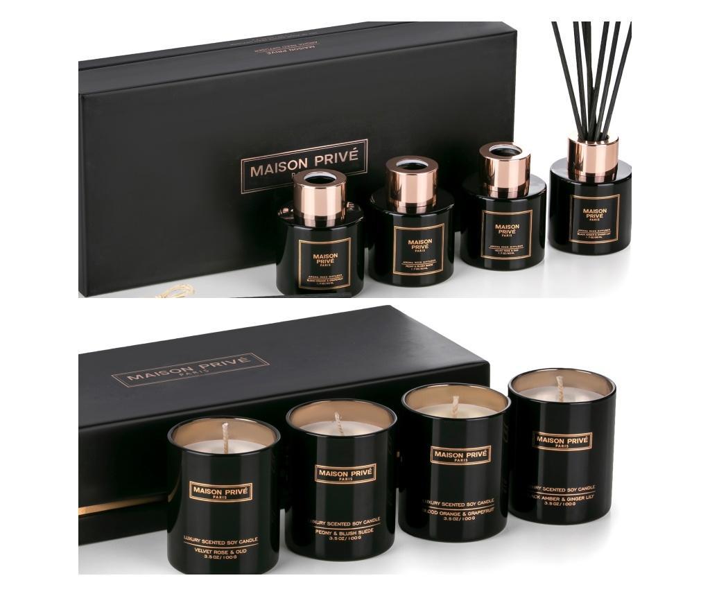Set 4 mini difuzoare si 4 mini lumanari parfumate - Maison Privé, Negru vivre.ro