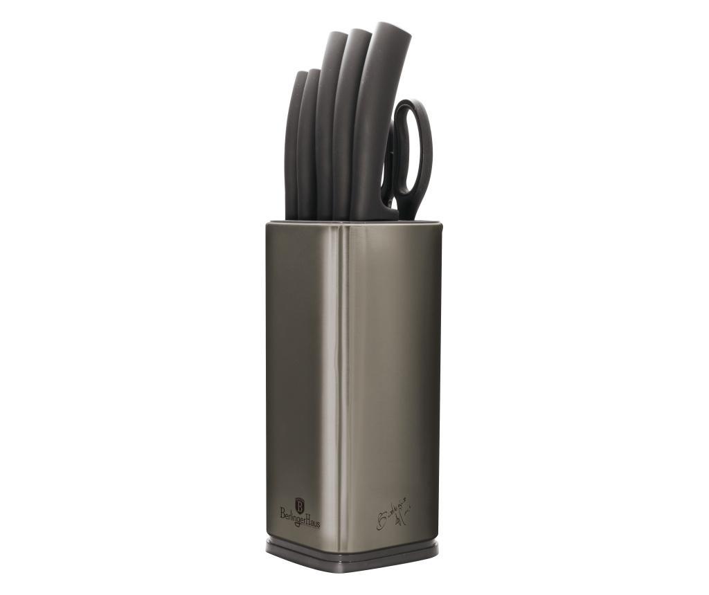 Set 5 cutite, foarfeca si suport Metallic Carbon imagine