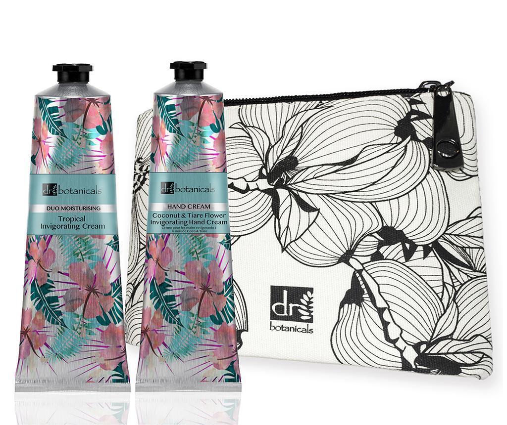 Set crema de fata, crema de maini si geanta pentru cosmetice Tropical Vibe