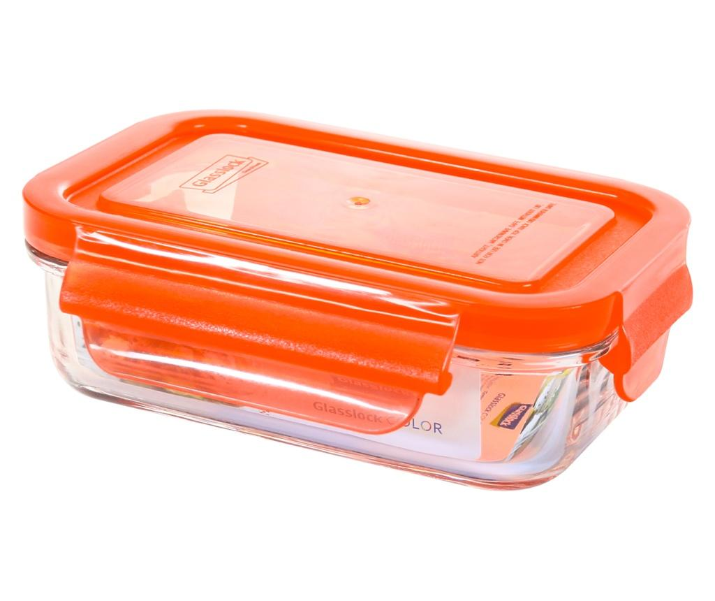 Bol cu capac ermetic Classic Rectangular Orange 400 ml