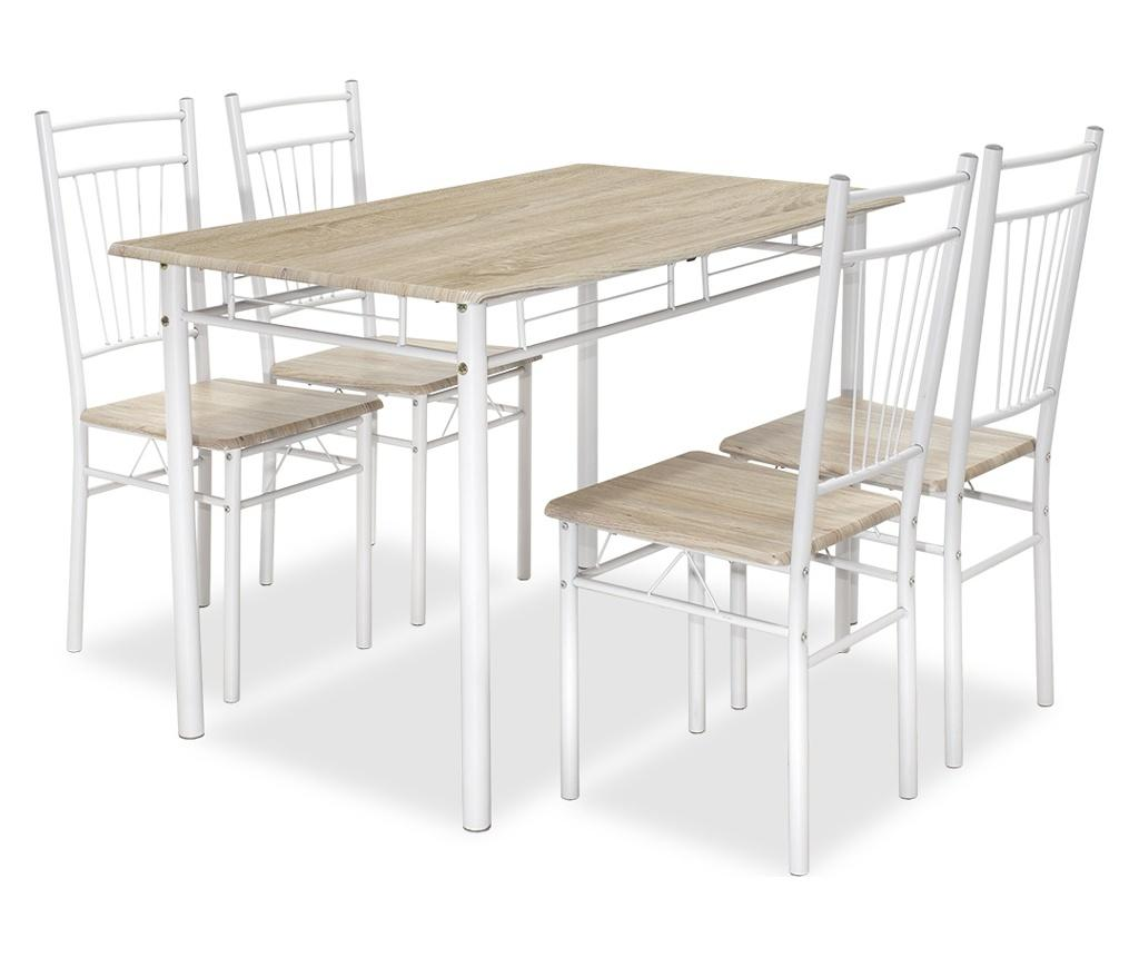Set masa si 4 scaune Gayla Sonoma Brown - PAKOWORLD, Alb,Maro imagine
