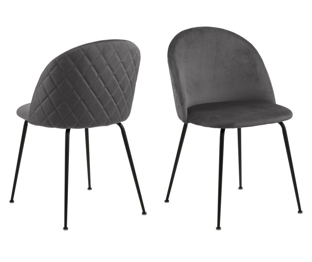 Set 2 scaune dining Louise Grey - actona, Gri & Argintiu imagine