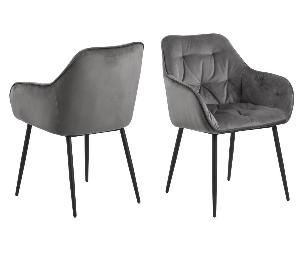 Set 2 scaune dining Brooke Grey - actona, Gri & Argintiu imagine