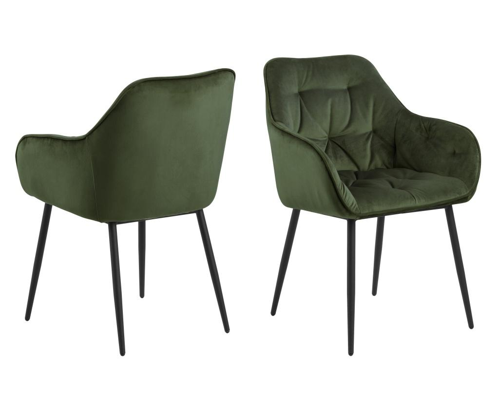 Set 2 scaune dining Brooke Green - actona, Verde imagine