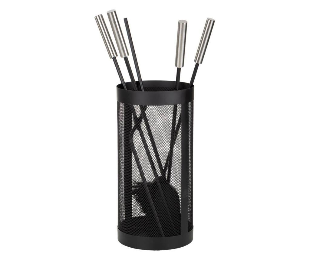 Set 4 instrumente pentru semineu cu suport - Creaciones Meng, Negru vivre.ro