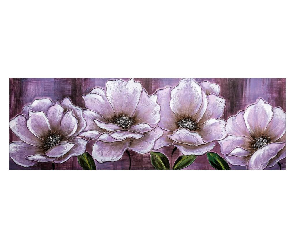 Tablou Flowers With Black Background 50x150 cm