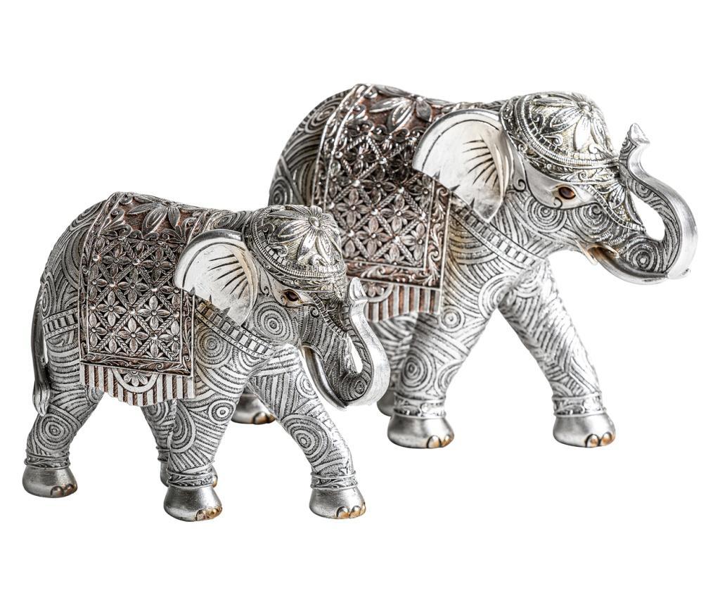 Set 2 decoratiuni Elefantes - Burkina, Gri & Argintiu