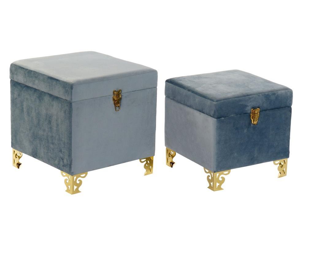 Set 2 taburete pentru picioare - Item International, Albastru imagine