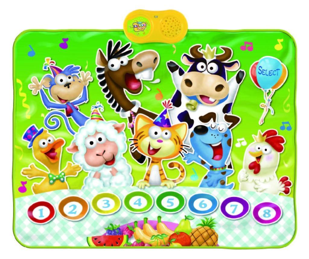 Covor muzical cu activitati Animal's Party 69x90 cm imagine