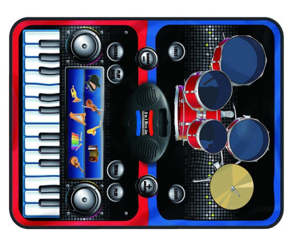 Covor muzical cu activitati 2in1 Music Jam 69x90 cm - Juguetes BP, Multicolor vivre.ro