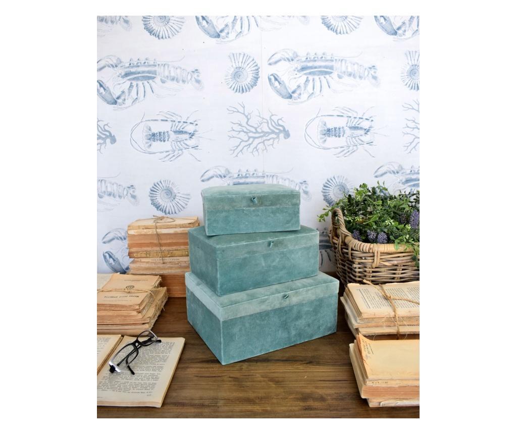 Set 3 cutii pentru depozitare Velvet - Orchidea Milano, Albastru imagine