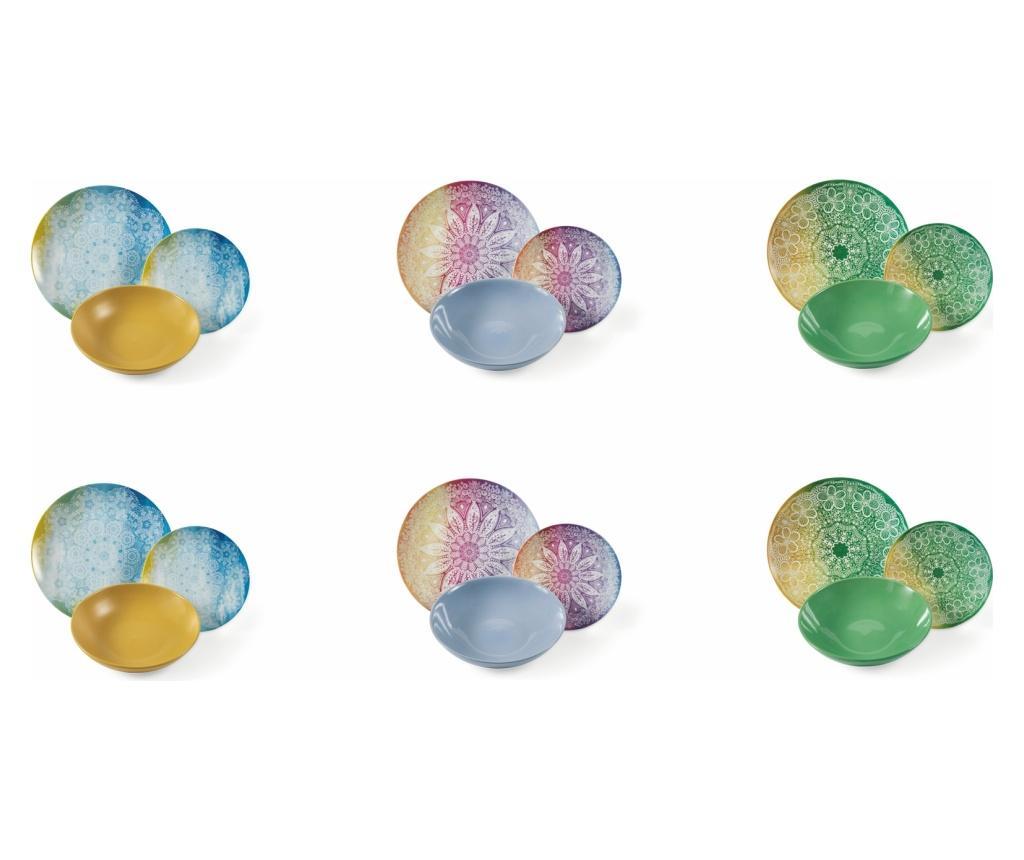 Set de masa 18 piese Canvas - Villa D'Este Home Tivoli, Multicolor imagine