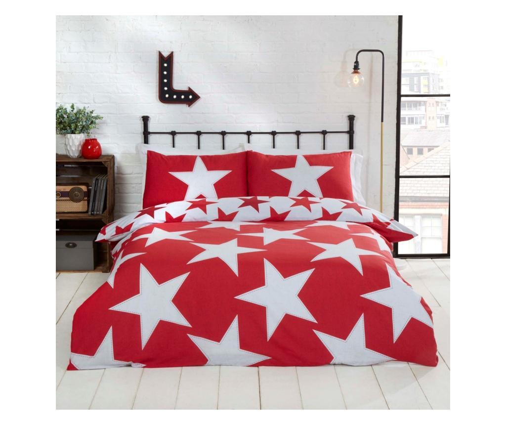 Set de pat reversibil Single All Stars Red - Rapport Home, Multicolor imagine vivre.ro