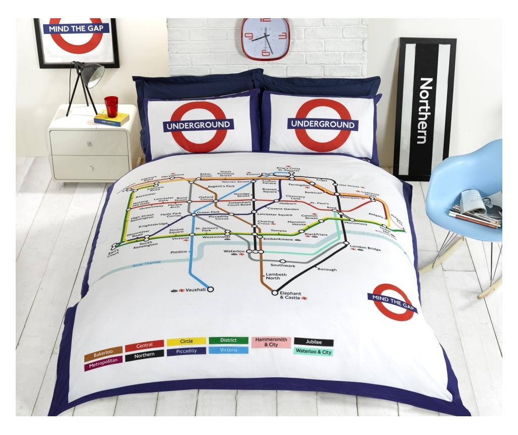 Set de pat reversibil Double London Underground - Rapport Home, Multicolor poza