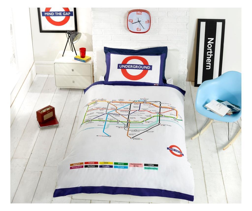 Set de pat reversibil Single London Underground - Rapport Home, Multicolor imagine