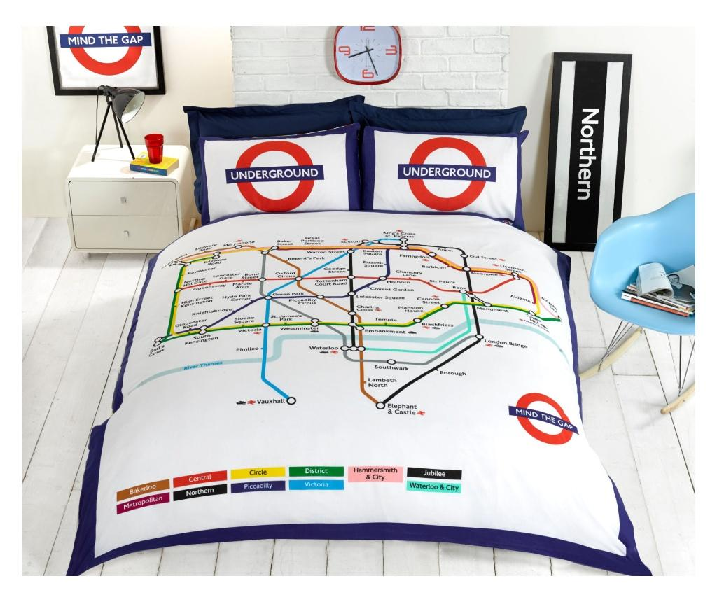 Set de pat reversibil Double Extra London Underground - Rapport Home, Multicolor imagine