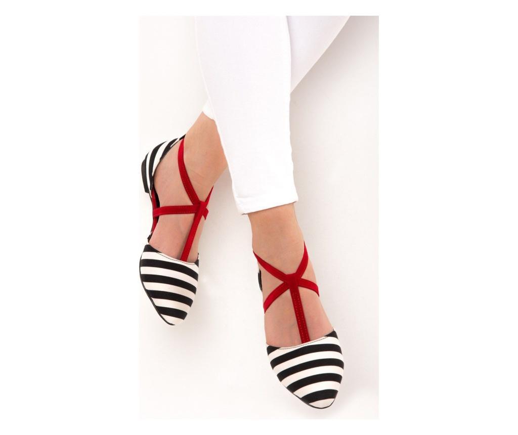 Pantofi dama Fox Shoes Black White Red 39
