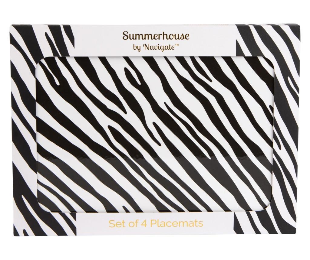 Set 4 suporturi pentru farfurii Zebra Stripe 22x29 cm