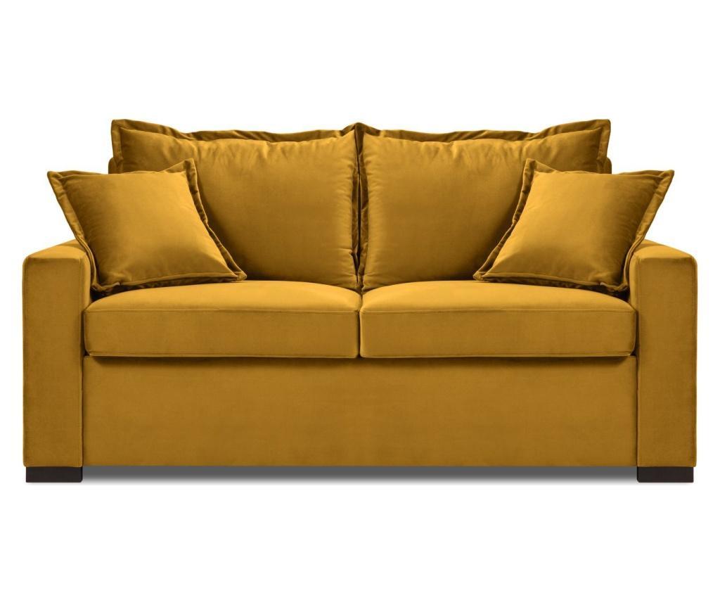 Canapea extensibila 2 locuri Brussels Yellow - COSMOPOLITAN Design, Galben & Auriu imagine