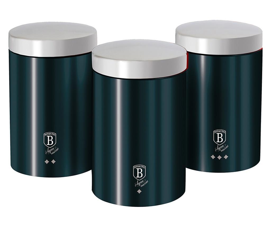 Set 3 recipiente cu capac Metallic Aquamarine