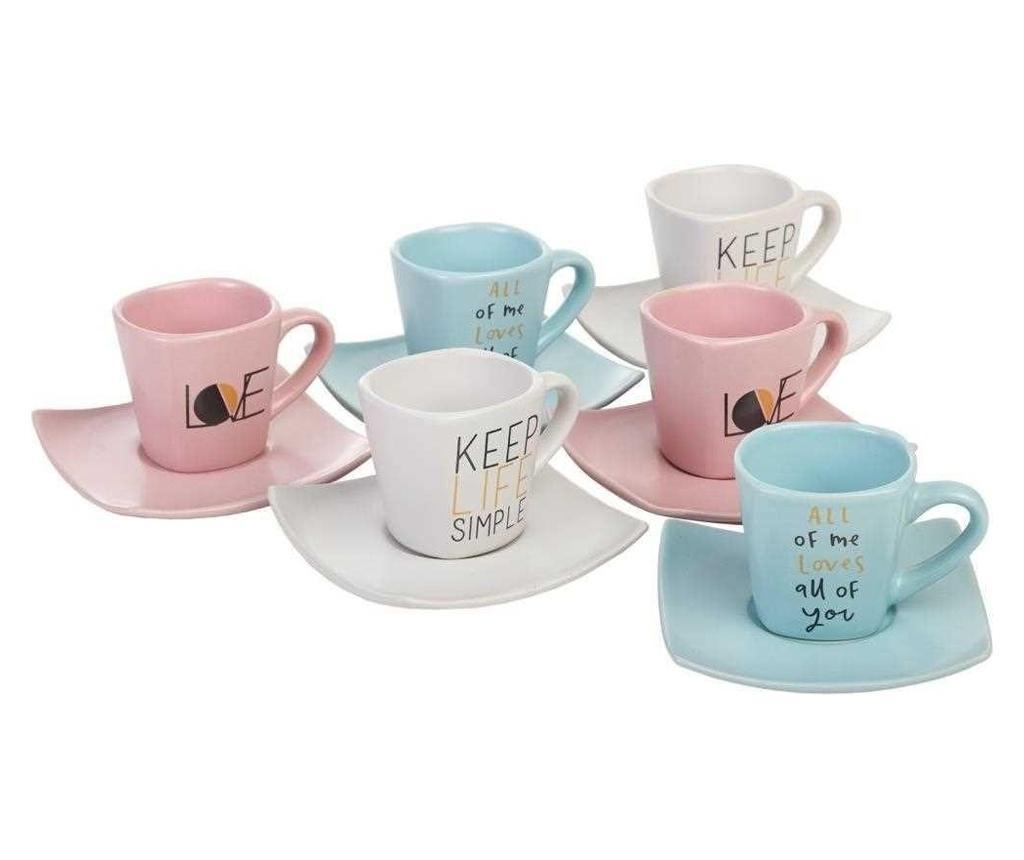 Set 6 cesti si 6 farfurioare pentru cafea - Creaciones Meng, Multicolor imagine