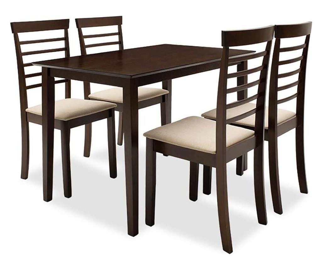 Set masa si 4 scaune Diego - PAKOWORLD, Maro imagine