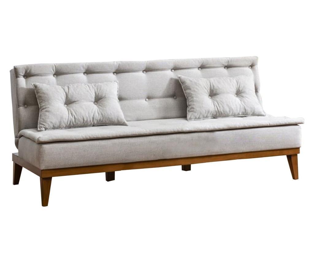 Canapea extensibila cu 3 locuri Ralph Cream - Unique Design, Gri & Argintiu imagine