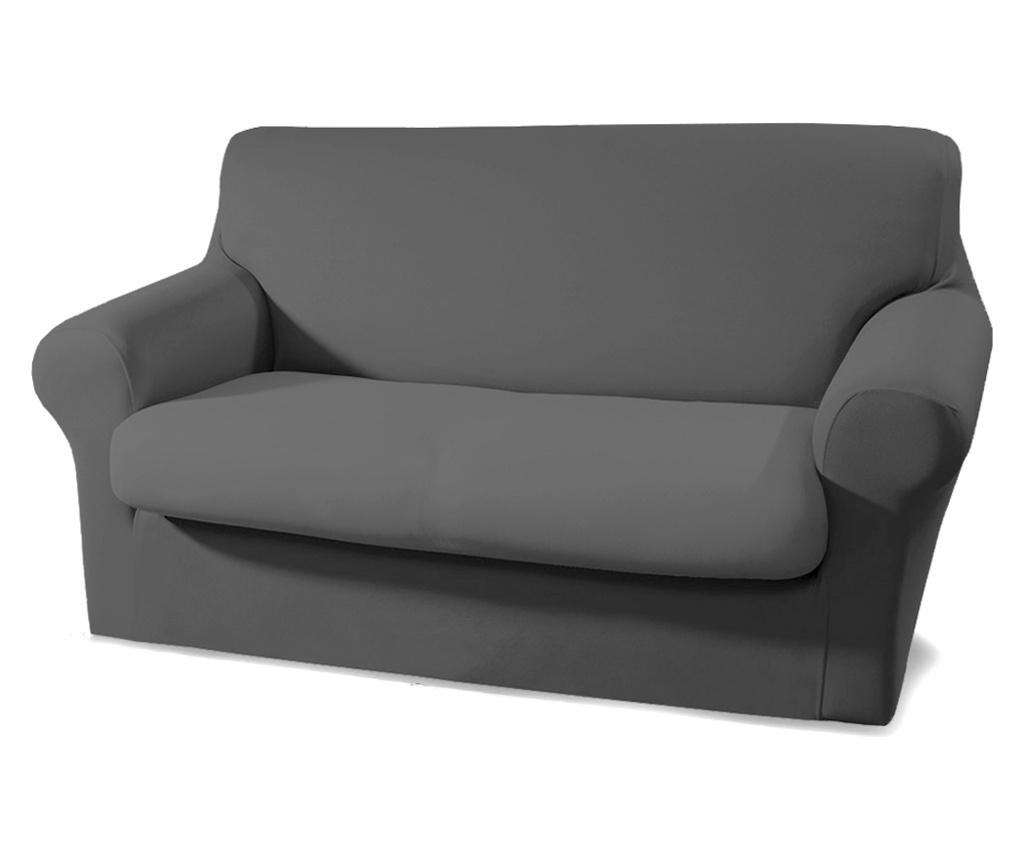 Husa pentru canapea cu 2 locuri Easy Dark Grey - Co.Ingros.Tex, Gri & Argintiu imagine