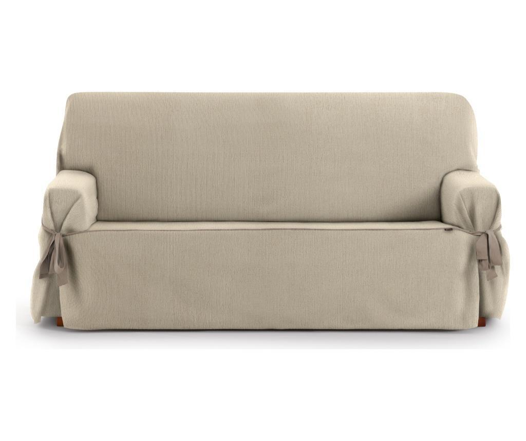 Husa ajustabila pentru canapea cu 3 locuri Chenille Ties Beige 180-230 cm - Eysa, Crem imagine