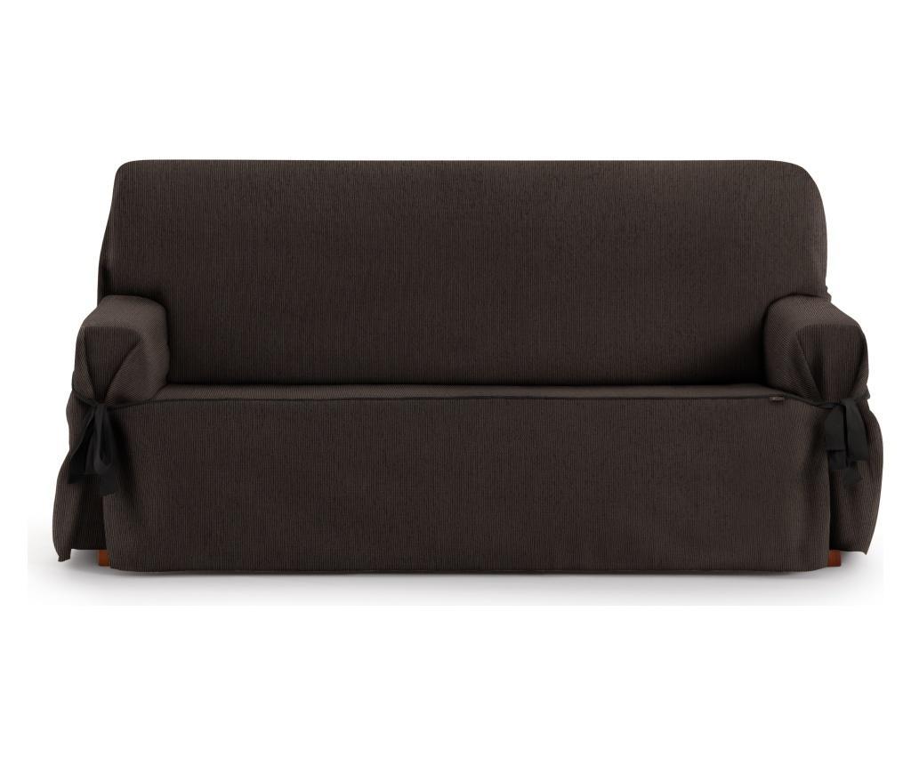 Husa ajustabila pentru canapea cu 3 locuri Chenille Ties Brown 180-230 cm - Eysa, Maro imagine