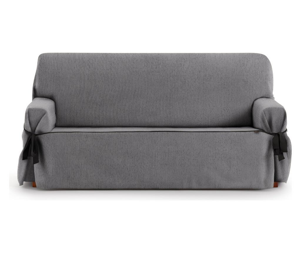 Husa ajustabila pentru canapea cu 2 locuri Chenille Ties Grey 140-180 cm imagine