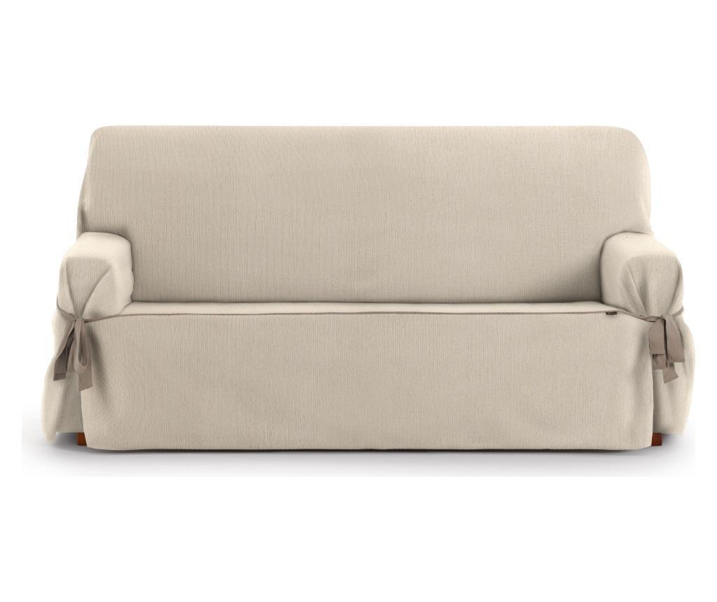 Husa ajustabila pentru canapea cu 3 locuri Chenille Ties Cream 180-230 cm - Eysa, Crem imagine