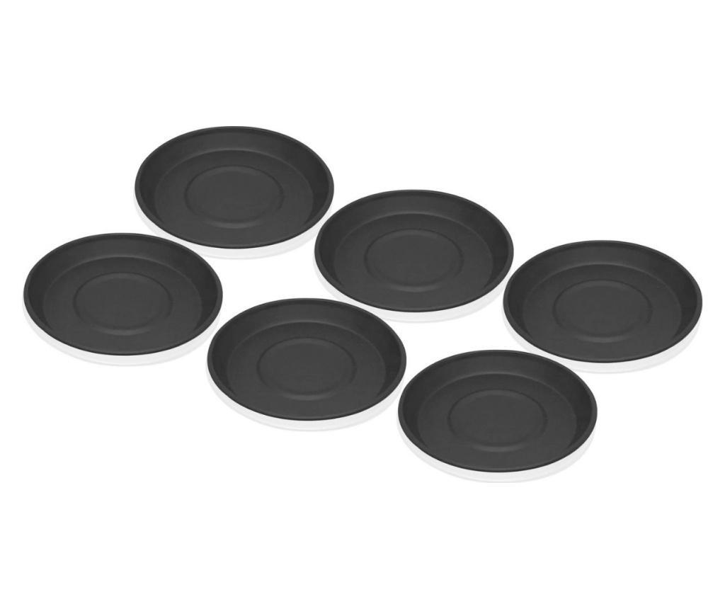 Set 6 farfurioare - Mia, Negru poza