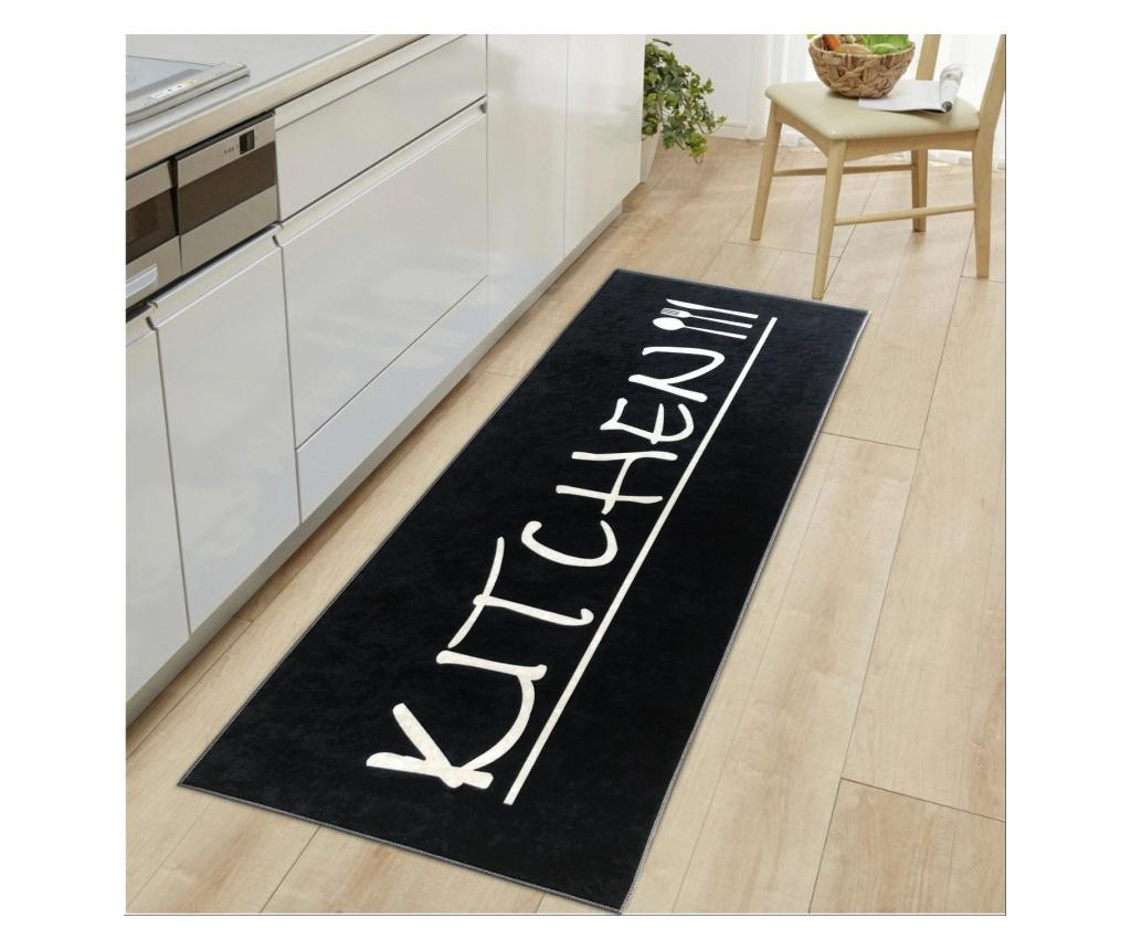 Covor Kitchen Mat Black and White 50x80 cm imagine