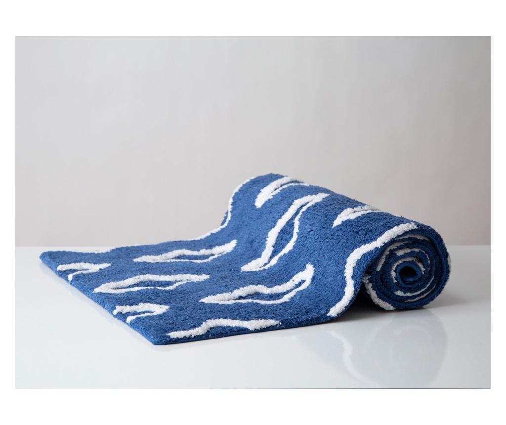 Covoras de baie Gaufre Royal Blue 50x150 cm - Irya, Albastru
