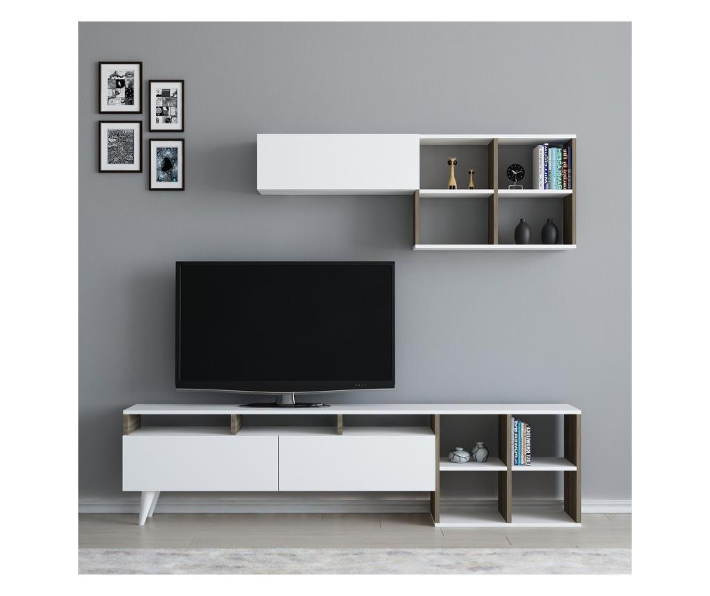 Set comoda TV si raft de perete Kuzey White And Walnut - Arnetti, Alb imagine