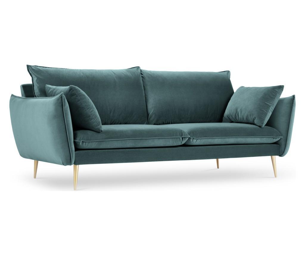 Canapea cu 3 locuri Elio Golden Legs Petrol - Milo Casa, Albastru
