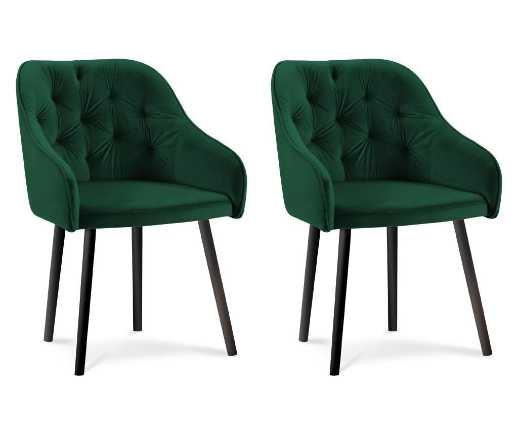 Set 2 scaune Luisa Bottle Green - Milo Casa, Verde